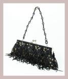 fransige schwarze Abendtasche