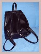 schwarzer Cityrucksack aus Leder, Rückansicht