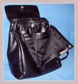 schwarzer Cityrucksack aus Leder, Innenansicht
