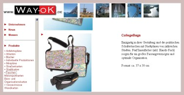 Screenshot der Collegebags mit Stadtplan