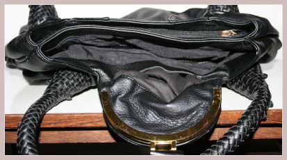 schwarze Spy Bag, Innenansicht