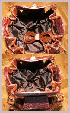 rotbraunes Handtäschchen in Achteckform, Innenansicht
