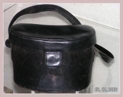 schwarze Lederhandtasche, Vorderansicht