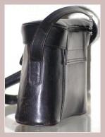 schwarze Lederhandtasche, Seitenansicht