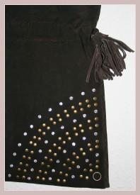 Braune Wildledertasche, Detail Vorderansicht