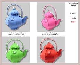 Handtaschen in Form einer Teekanne