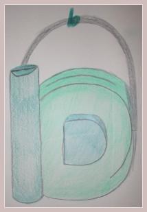 Skizze der Buchstabentasche 'b'