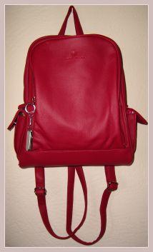 roter Rucksack aus Kunstleder, Vorderansicht