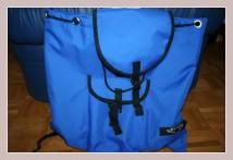 blauer Winterrucksack, Vorderansicht