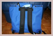 blauer Winterrucksack, Rückansicht