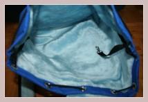 blauer Winterrucksack, Innenansicht Hauptfach
