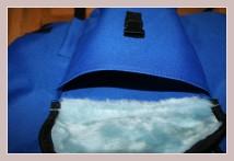 blauer Winterrucksack, Innenansicht Vortasche