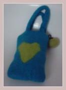 Blaue Handytasche aus Filz