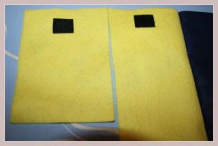 gelbe Filzstücke mit Klettverschluss