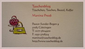 Visitenkarte vom Taschenblog